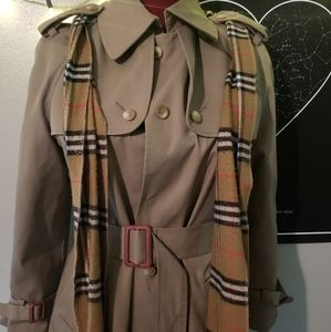 Vintage Tan Trench Coat with Tan Plaid Detailing
